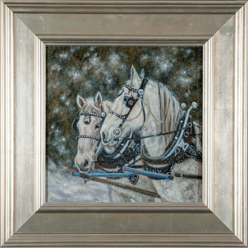 Percherons In Snow Woods by Mary Iselin