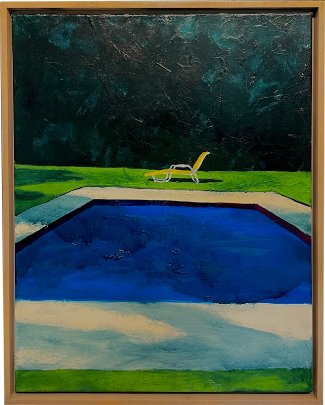 Oil Painting pool with chair