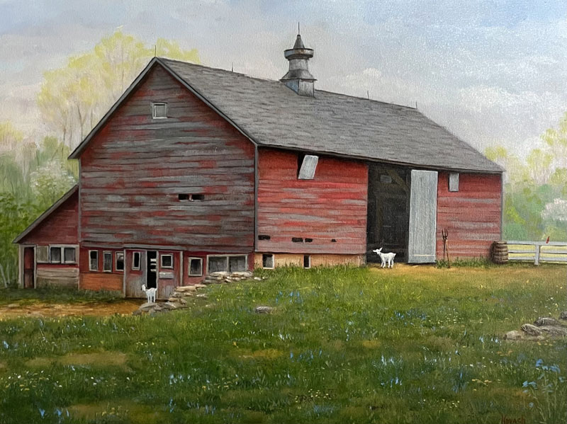 oil painting vermont barn